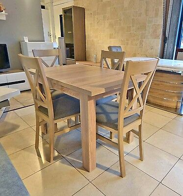 DINING SET Extending dining table and 4 chairs in oak sonoma, strong and solid