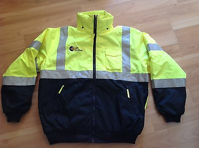 waterproof safety jacket with hood and Removable fleece lining. Size Large