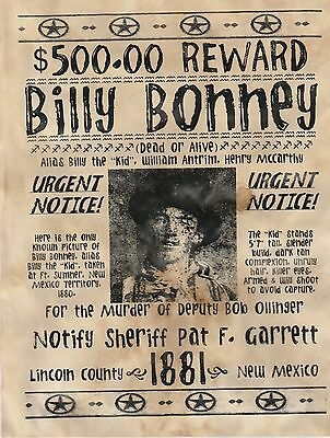 Billy The Kid~(I Combine Shipping)Wanted, Poster, Old West, Garrett, Outlaw