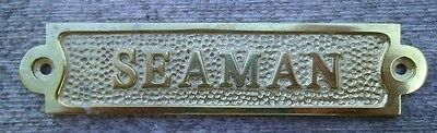 Brass SEAMAN Sign Plaque Nautical Ship Boat Decor NEW FREE SHIPPING #2