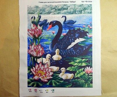 BLACK SWANS partly embroided with beads PICTURE