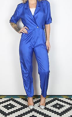 Jumpsuit UK 8 XS  approx. 1980's Plain 80's All in one  (L3B)