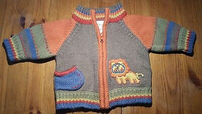 Next knitted cardigan with lion on the front. size 0 to 3 months