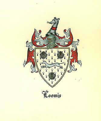 *Great Coat of Arms Loomis Family Crest genealogy, would look great framed!