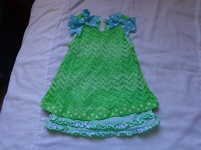 Bonnie Baby Toddler Girls Dress Size 18Mgreens Blues  Bows  Great Cond!!