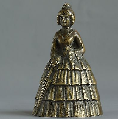 Vintage 'Lady In Crinoline' Cast Brass Bell - Made In England