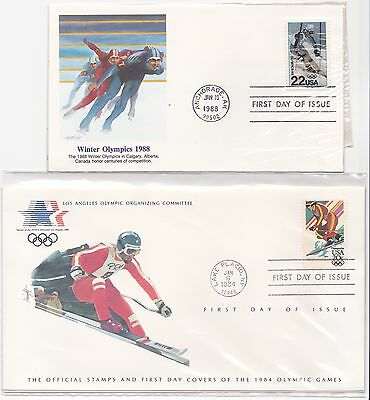 US Winter olympics first day cover FDC FDI 1988 speed skating 1984 ski-ing