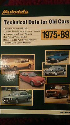 Autodata Technical Data for Old Cars 1975 - 1989