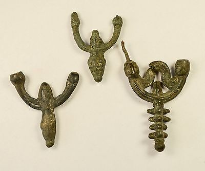 Great Medieval / Viking Era Bronze Decorated Earrings