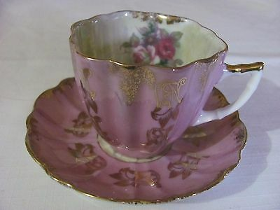 Castle Hand Painted Cup And Saucer  Japan  Pink Scalloped  Iridscent