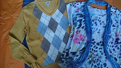 Woman clothing lot 4, Size 14 jeans, top, xl sweater, scarf, excellent.