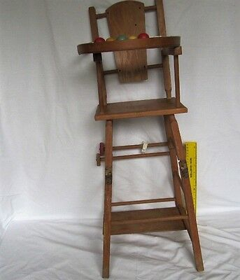 Vintage Wooden Toy High chair Metamorphic Changes Shape Doll Teddy