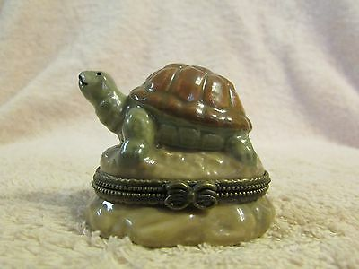VintageTurtle On A Rock Porcelain Trinket Box Hand Painted
