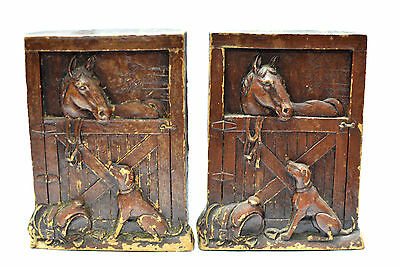 2 Vintage Horse in Stable Dog Bookends Ornamental Horses Stable Bookends Syroco