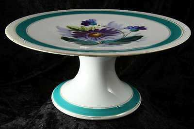 cake dessert plate on stand no makers mark purple flower design 9 inches across