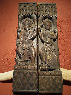 PAIR Antique  Hand Carved Wooden Temple Panels Nepal Hindu Ganesha