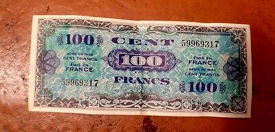France Allied Military Currency 100 Francs Banknote, 1944
