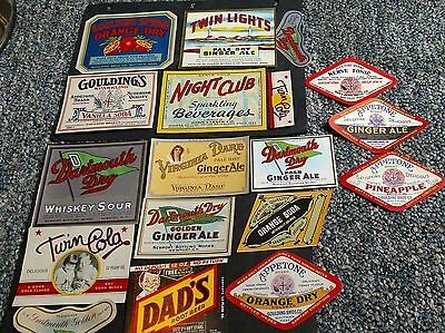 18 Different Old US Soda Bottle Labels Nice Collection soft drink labels scarce