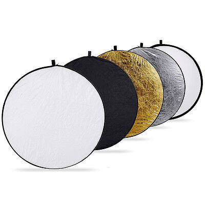 """New Handheld 110cm 43"""" 5 in 1 Light Multi Collapsible Photo Reflector Board Disc"""