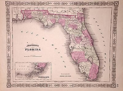 1864 Florida Map - Original Johnson's Atlas
