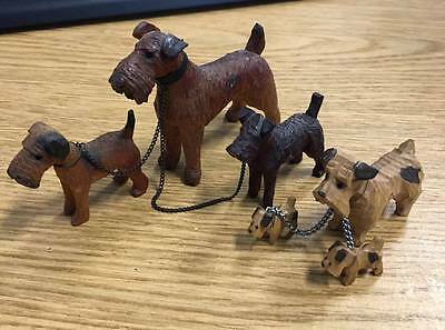 2 Sets Vintage Carved Wooden Terrier Dog Figurines Mama and Pups with Chains