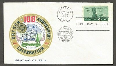 Us Fdc 1959 Oregon Statehood 4C Stamp First Day Of Issue Cover Astoria Oreg