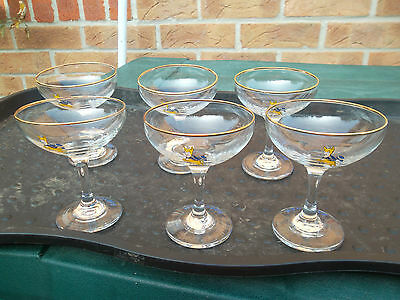BABYCHAM GLASSES - Set of 6 (six) vintage 1970's + one bottle - COLLECTION ONLY