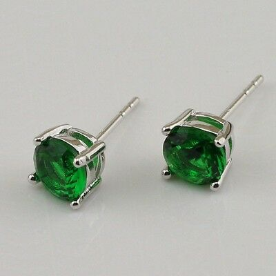 9ct White Gold Filled Men's Imitation Emerald Cubic Zirconia Stud Earrings - 6mm