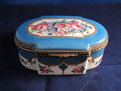 Wonderful Sevres Hand Painted Blue & Flowers Porcelain Cabinet Table Vanity Box