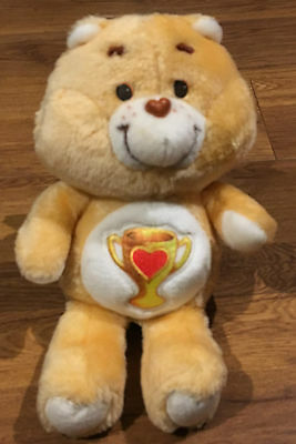 """CARE BEAR VINTAGE CHAMP CARE BEAR KENNER 13"""" SOFT TOY 1980's"""