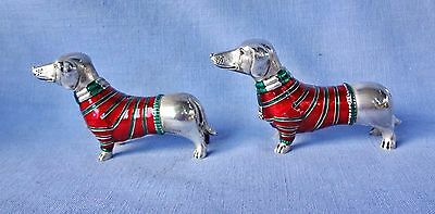 DACHSHUND DOXIE Silver Plated Metal Salt & Pepper Shakers By Godinger