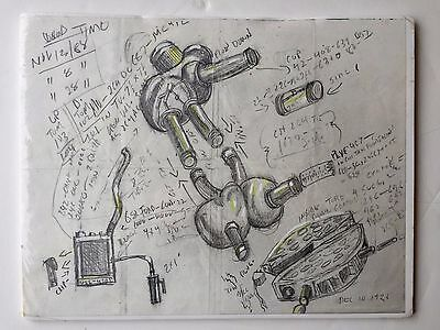 Antique 1926 Pencil Sketch Drawing Mechanical Technical VERY COOL!