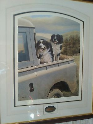 Nigel Hemming BACK SEAT DRIVER Border Collies On Landrover Land Rover.Limited.