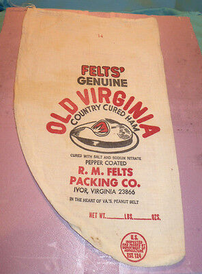 Felt's Genuine Old Virginia Country Cured Ham Shaped Advertising Cloth Sack Bag