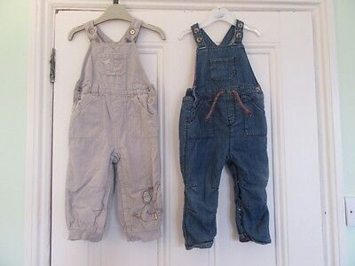 12-18: 2 cute dungarees - Blue denim / Beige cord + elephant -Soft lining - NEXT
