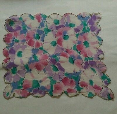 Vintage Silk Handkerchief Ladies pink purple and green floral rare antique