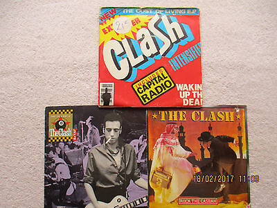 "THE CLASH 3x7"" ROCK THE CASBAH A1B1-SHOULD I STAY A1/B1-COST OF LIVING EP G/VG+"