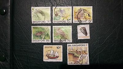 + + + Lot 8 Timbres Stamps Singapore + + +