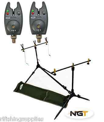 NGT Carp Fishing Rod Pod With Indicators + 2 x Black Bite Alarms In Case