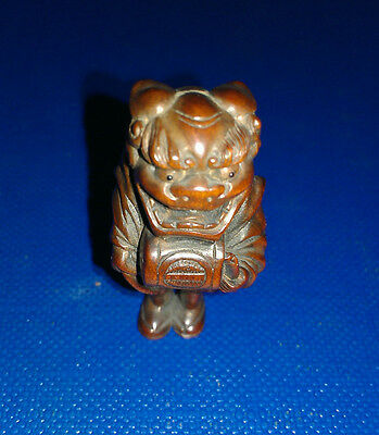 Antique Japanese Netsuke Wood Detailed Carved Shishimai Lion Dancer w/ Drum