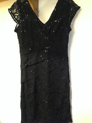 SCARLETT NITE Black Sequin & Lace Stretch Bodycon Evening Party Dress UK 10