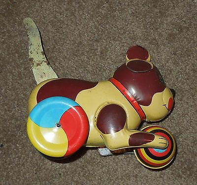 VINTAGE REPRODUCTION WIND-UP TOY METAL DOG WITH BALL MADE IN CHINA circa 1980's