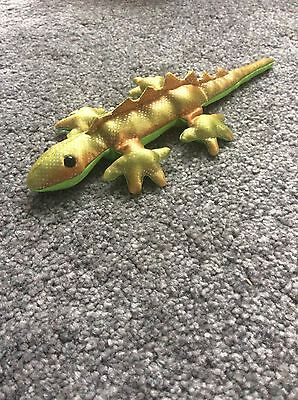 Toy green silver gold lizard 20 cms