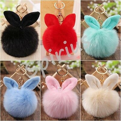Faux Fur Pompom Ball Keyring with Ears Accessory Bag Charm Car Pendant