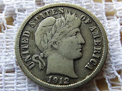 1912 Barber Dime 10 Cent  *  Early Silver Coin *