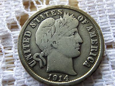 1914 D Barber Dime 10 Cent  *  Early Silver Coin *