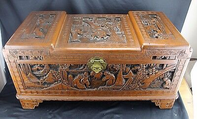 "Antique Chinese Camphor Wood Carved Chest ~ Scholar""s, Made In Hong Kong 29"""