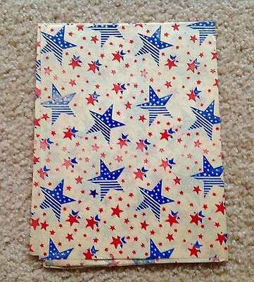 """Stars Gift Wrapping Paper  WW2 1940's Patriotic Red, Blue 1 Sheet 20""""x30"""""""