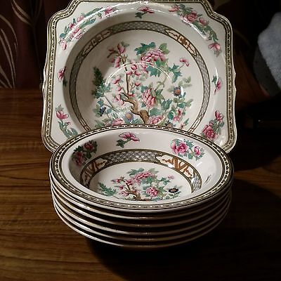 Crown ducal indian tree serving dish & 6 small fruit dishes.