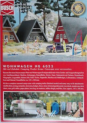 BUSCH 6023 Caravan With Accessories 00/HO Model Railway Kit